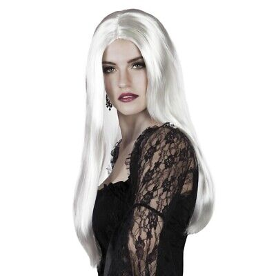 WEIßE HEXENPERÜCKE Karneval Hexen Vamp Gothic Perücke Damen lang Halloween 86098 ()