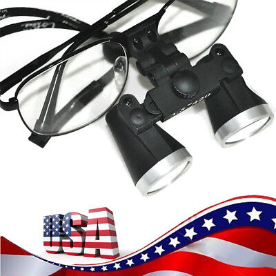 Black Metal Frame Dental Surgical Binocular Loupes 3.5x 420mm Optical Glass