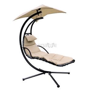 Hanging Chaise Lounger Hammock w Pillow Umbrella Patio