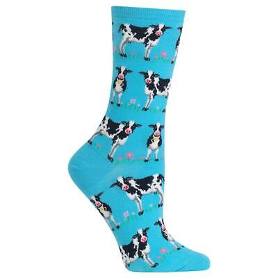 Happy Cows Hot Sox Women's Crew Socks Turquoise New Fun Novelty Bovine Fashion