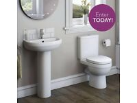 white 2 piece bathroom set.. toilet & cistern soft close toilet seat, basin & pedestal
