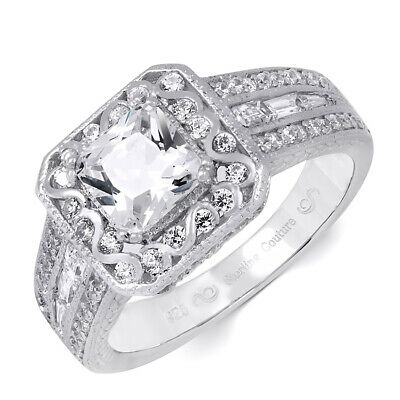 Womens Princess Cut 2.15 ct Wedding Engagement Ring Sterling Silver Size 5-9