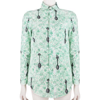 Julien David Green White Pixelated Spoon Pattern Slim-Fit Shirt Blouse L UK12