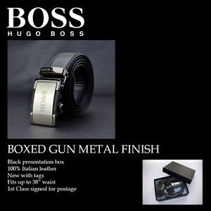 Hugo Boss Smoked gun metal Leather Belt Automatic Buckle fits up to 38