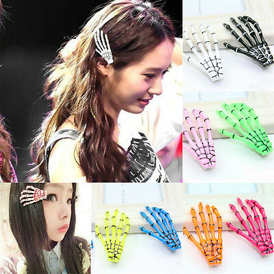 2x Skeleton Hand Bone Hair Clips Grips Zombie Halloween Punk Gothic Fancy - Halloween Skeleton Hair