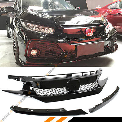 FOR 2016-17 CIVIC SEDAN/COUPE/HATCH GLOSS BLK FK8 TYPE-R STYLE FRONT HOOD GRILL