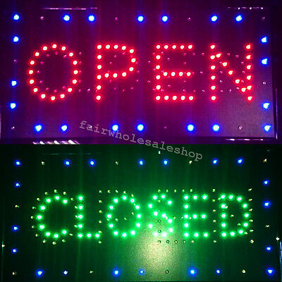 Flashing Led Two Light Business Sign Open Close 2 In 1 Display Cafe Bar By Neon