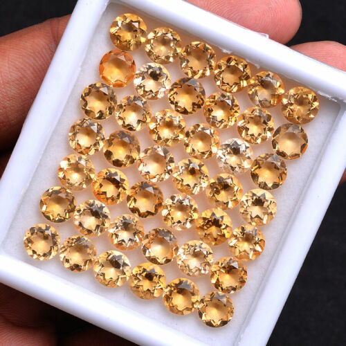 50 Cts VVS Natural Citrine AAA Quality Sparkling 7MM Round Cut Loose Gemstones