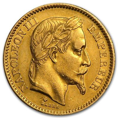 France Gold 20 Francs Napoleon III Avg Circ - SKU #161220
