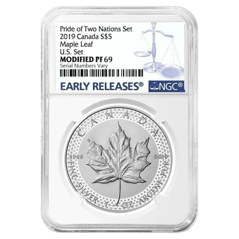 Sale Price- 2019 1 oz Modified PF Silver Maple NGC PF 69 ER Pride of Two Nations