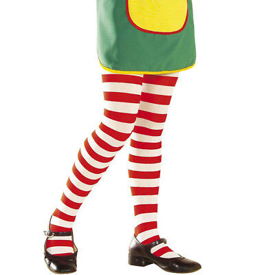 Rot Weiß Streifen Strumpfhosen (STRUMPFHOSE KINDER Streifen Ringel Rot Weiß Karneval Halloween Kostüm Party 0123)