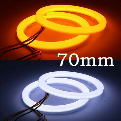 2 Pcs 12V Car Headlight DRL Halo Ring Angel Eyes White Yellow Universal For 70mm