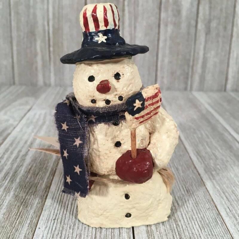Vtg Folk Art Patriotic July 4th Paper Mache Uncle Sam Snowman K. Bierly Original