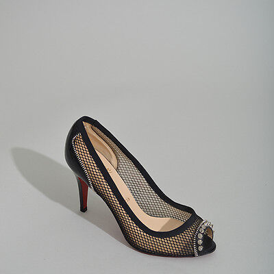 Christian Louboutin NEW Black Mesh Peep Toe Pump with Spikes - Size 37