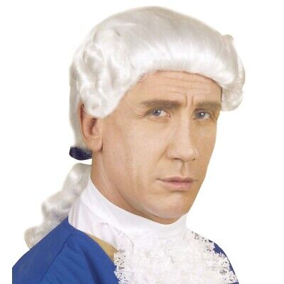 WEIßE EDELMANN PERÜCKE Barock Rokoko Mittelalter König Richter Kostüm Party - Edelmann Kostüm