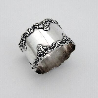 Art Nouveau Scroll Border Napkin Ring Gorham Sterling Silver