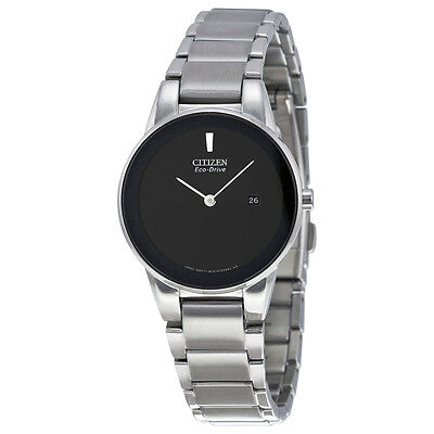 Citizen Axiom Eco Drive Black Dial Stainless Steel Ladies Watch GA1050-51E