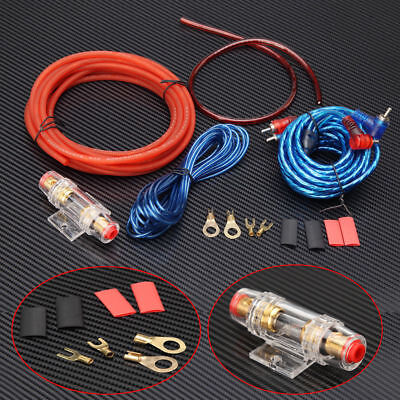 - 1500w Car Amplifier Wiring Kit Audio Subwoofer AMP RCA Power Cable AGU FUSE