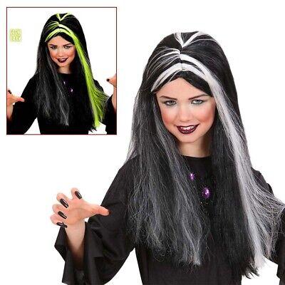 KINDER HEXENPERÜCKE Halloween Lange Perücke Hexe leuchtend Mädchen - Hexe Kind Schwarze Perücke
