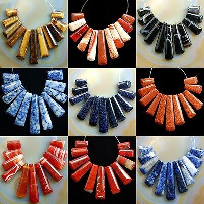 Gemstone 11pcs graduated pendant loose beads set for necklace jewelry design