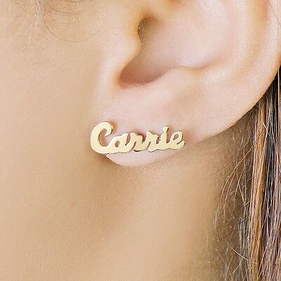Personalized Sterling Silver and Gold Plated Stud Name Earrings Any Name - Gold Name Earrings