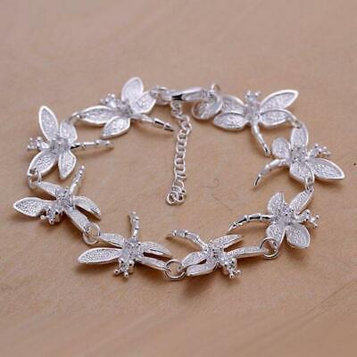 925 Silver fashion Dragonfly women Lady party chain wedding bracelet -