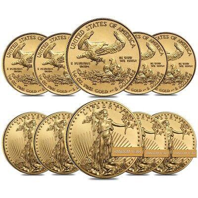 Lot of 10 - 1/10 oz Gold American Eagle $5 Coin BU (Random Year)