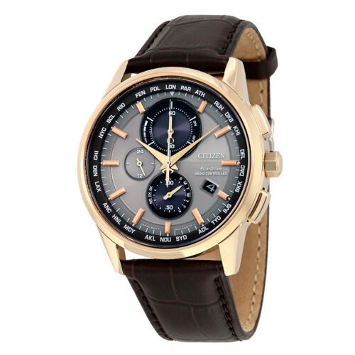 $289.00 - Citizen Eco-Drive Brown Leather Strap Mens Perpetual Calender Watch AT8113-04H