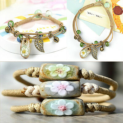 (Womens Bracelet Ceramic Flower Leaf Bead Braided Leather Rope Chain Cuff Bangle)