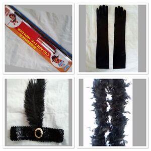 Charleston Flapper Set Black Sequin Headband Feather Boa Gloves Cigarette Holder