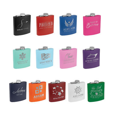 Personalized Coated Flask - Custom Engraved 13 Colors Available - Monogram, - Customized Flasks