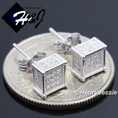 MEN 925 STERLING SILVER SQUARE 6X6MM LAB DIAMOND ICED BLING 3D STUD EARRING*E123