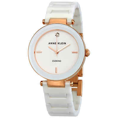 Anne Klein White Dial White Ceramic Ladies Watch 1018RGWT