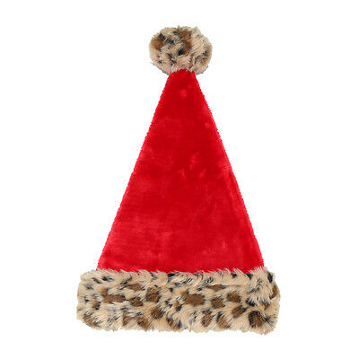 New Leopard Santa Hat Holiday Living Christmas Faux Cap Brown Felt
