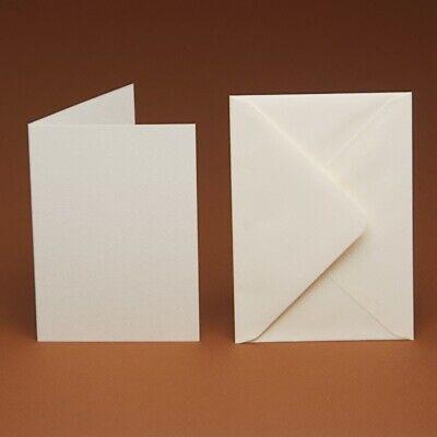 20 luxury blank A6 Cards & Envelopes. Linen, Hammer, Ivory, white, cream -