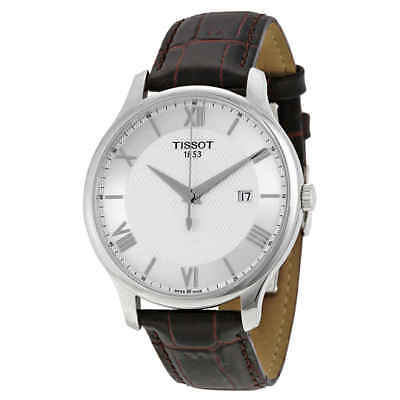 Tissot Tradition Silver Dial Brown Leather Men's Watch T063.610.16.038.00