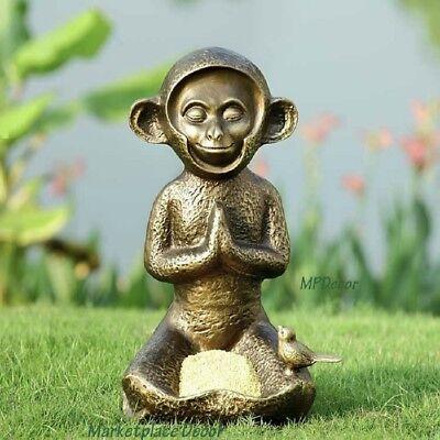 Meditating Monkey Birdfeeder Metal Garden Sculpture Statue Zen Bird Feeder