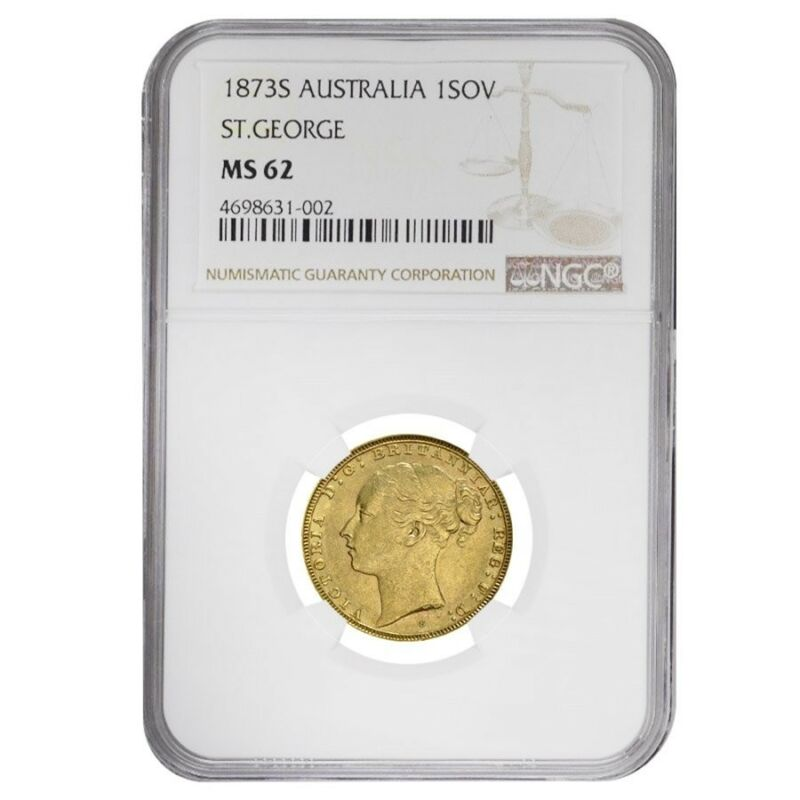 1873 S Australia Gold Sovereign Victoria Young Head Ngc Ms 62