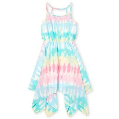NWT The Childrens Place Girls Tie Dye Woven Sleeveless Handkerchief Dress