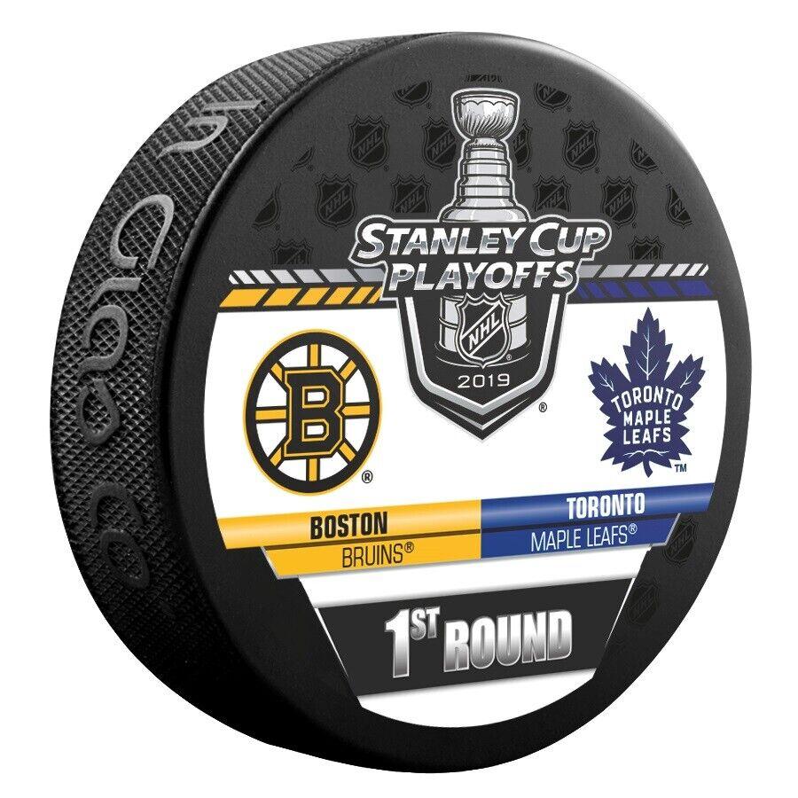 2019 Stanley Cup Playoffs Hockey Puck 1st Round Boston Bruins Maple