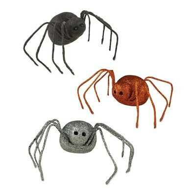 Bethany Lowe - Halloween - Glittered Spider Assorted (Set of 3) - LO2728
