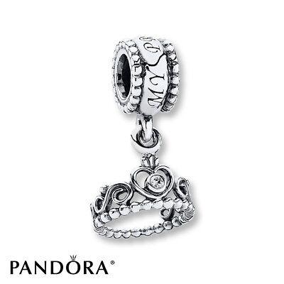 NEW Authentic Pandora S925 My Princess Dangle Charm, Clear CZ #791117CZ