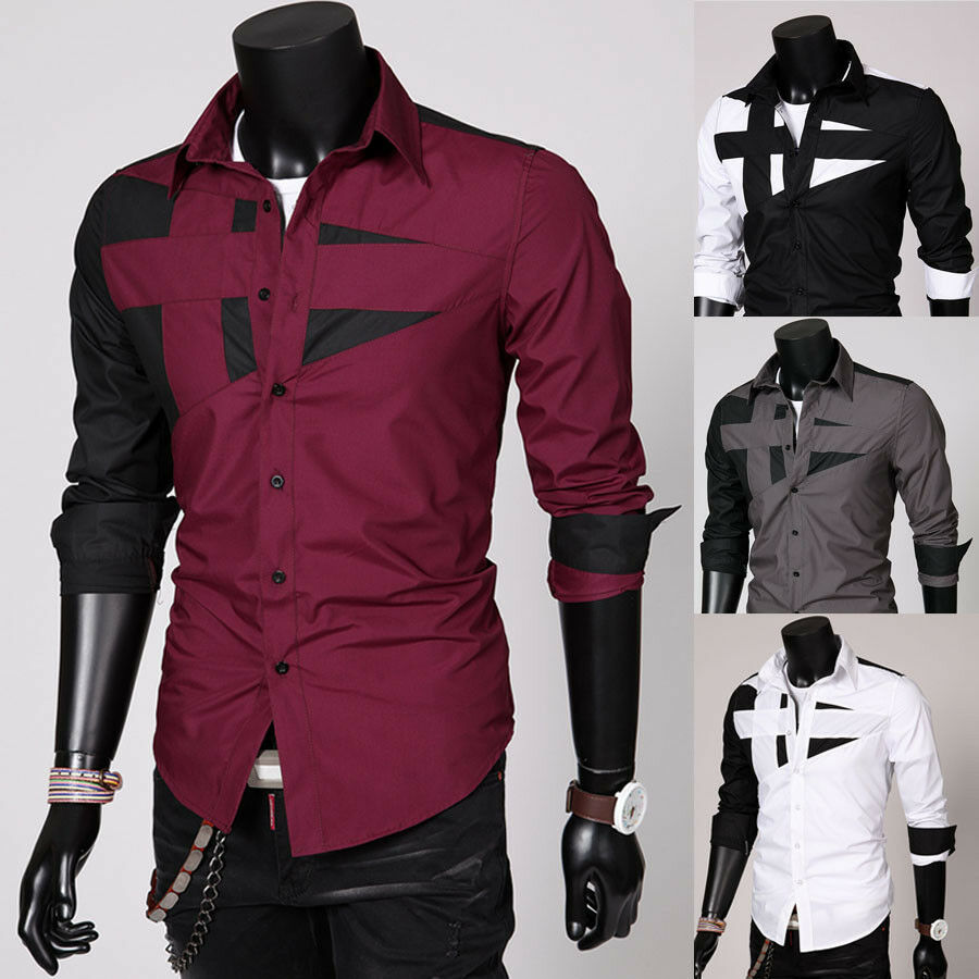 new fashion mens luxury long sleeve casual slim fit