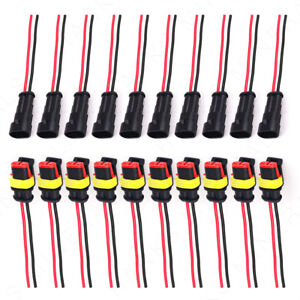 10x 2 Pin Connector Plug Waterproof Electrical AWG Wire Car Auto Boat 2 Way