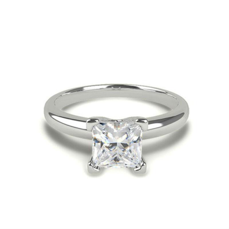 Beautiful 1.50 Ct E Si1 Princess Cut Diamond Platinum  Ring Women Certified