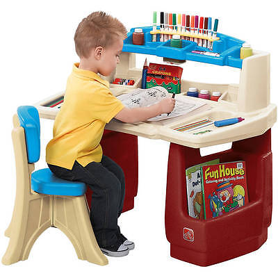 - Art Desk For Children Craft Kids Painting Drawing Storage Table Chair Supplies