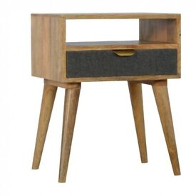 Bedside Table with One Grey Tweed Fabric Drawer Front and Storage Slot, Handmade 100% Mango Wood