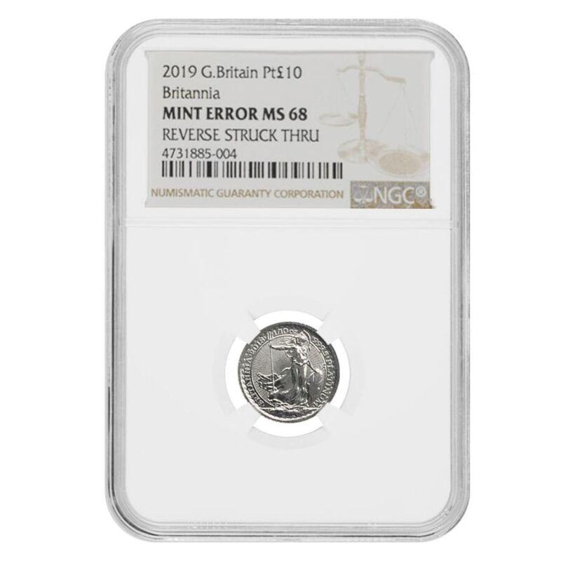 2019 Great Britain 1/10 oz Platinum Britannia Coin NGC MS 68 Mint Error (Rev