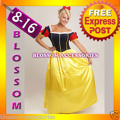 B55 Adult Snow White Princess Costume Halloween Storybook Fancy Dress Outfit - Snow White Outfit Adults
