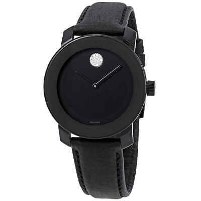 Movado Bold Black Dial Black Leather Ladies Watch 3600483